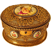 SOLD Antique French White Opaline Casket Box Handpainted Porcelain Plaques