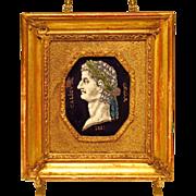 SOLD Antique Portrait Miniature Roman Emperor Enamel on Copper