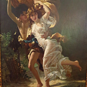 "SOLD Antique Oil Painting""The Storm""After Pierre-Auguste Cot"