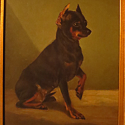 SALE Antique Dog Portrait Painting Miniature Pinscher Oil on Board
