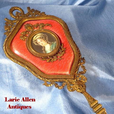 Antique French guilloche enamel portrait miniature bronze hand mirror