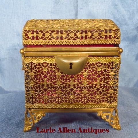 Luxurious antique cranberry glass casket box with ormolu