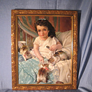 SOLD Beautiful Young Girl with Kittens French Oil on Canvas