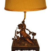 Cherub Sculpture Lamp with Shade