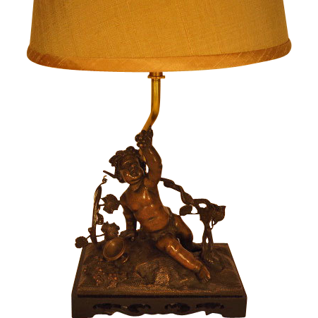 Cherub Sculpture Lamp with Shade from larieallenantiques on Ruby Lane