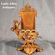 Antique Calling Card Holder Figural Stag
