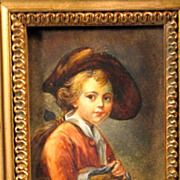 SOLD On hold for Lorin    French Portrait Miniature Young Schoolboy
