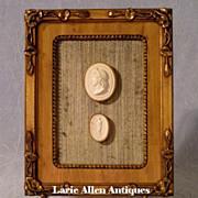 SOLD Antique Italian Plaster Cameos Grand Tour Framed