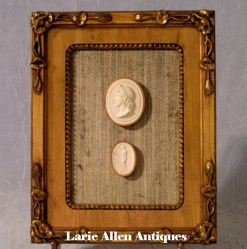 Antique Italian Plaster Cameos Grand Tour Framed