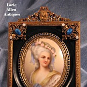 SOLD Fabulous jeweled frame with porcelain plaque miniature signed