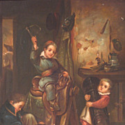 SOLD 19th Century Oil Genre Scene Children Playing