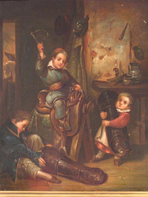 19th Century Oil Genre Scene Children Playing
