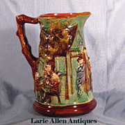 "Antique Majolica Nimy Les Mons Pitcher ""Tavern"""