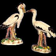 SOLD Pair French porcelain egrets Bourdois & Achille Bloch