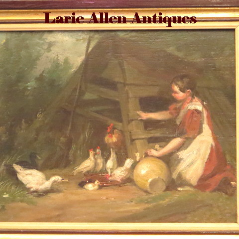French Oil Farmyard Girl Chickens Geese