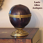 SOLD 19th Century Coconut Shell Hinged Box with Ormolu