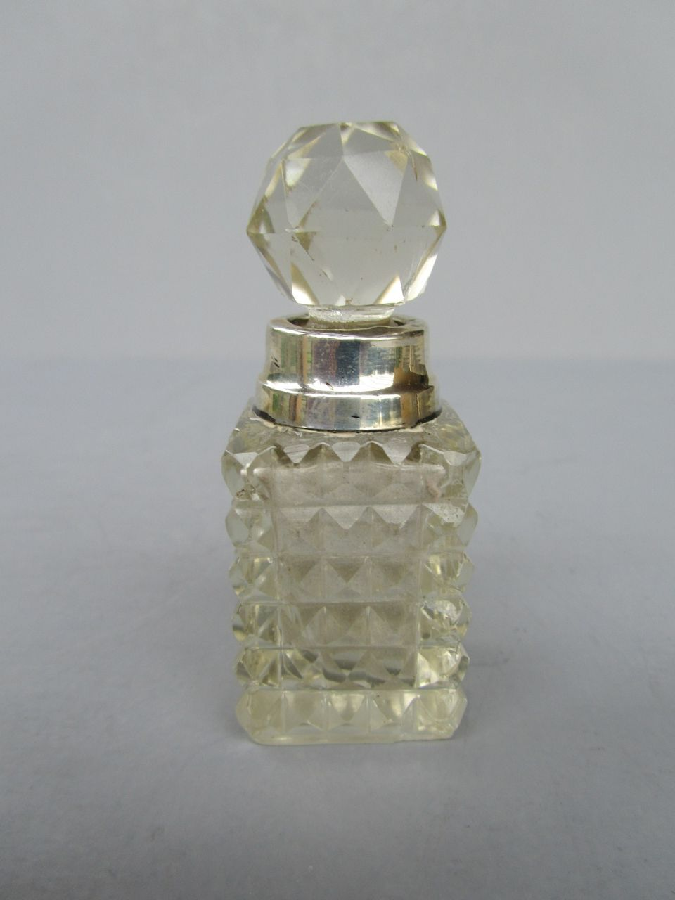 Antique English Sterling Silver and Cut Glass Perfume Bottle - London 1910