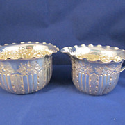 Antique English Sterling Silver Creamer and Sugar Bowl - Sheffield 1889