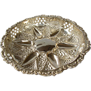 Antique English Sterling Silver Repousse/Reticulated Bonbon Dish - Birmingham 1899