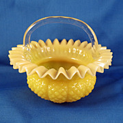 SALE Small Opalescent Marigold Bride's Basket c. 1900