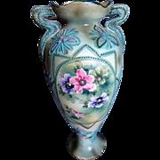 SALE Japanese Moriage Ware Enameled Vase with FLoral Design