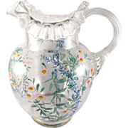 SALE Hand Enameled Pitcher with Applied Reeded Handle Floral/Daisies c. 1900