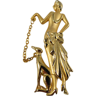 Classy Gold-Tone Lady with Dog Pin, Marked AJC