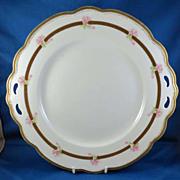 SALE Large Porcelain Cake Plate, Pierced handles & Roses