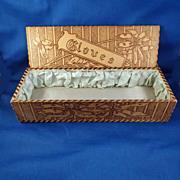 Vintage Lady's Wood-Burned Design Vanity Glove Box