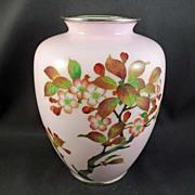 SALE Enameled on Metal Floral Vase/Cloisonné