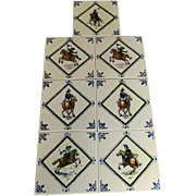 SALE 7 Vintage Mettlach Tiles, Polychrome, Man/Soldiers on Horseback c. 1940