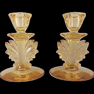 Fostoria Baroque Topaz Yellow Flaming Candle Holders c. 1936