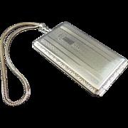 SALE Nickel Silver Art Deco Compact Purse EVANS