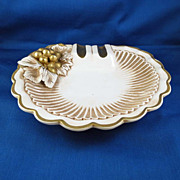 SALE Fancy Vintage Ash Tray Gold on White with Grapes, Italy
