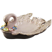 Lefton #954 Pink Porcelain Swan Ladies' Ash Tray