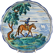 Talavera Mexico Hand Painted Pottery Plate Soldier/Man on Horseback