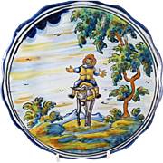 Talavera Mexico Hand Painted Pottery Plate with Man on Donkey