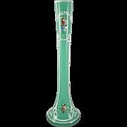 SALE Czech Bohemian Vintage Cased Art Glass Bud Vase Clear Overlay on Green Glass with Enameli