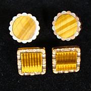 Vintage Gold Filled Tiger Eye Cuff Links