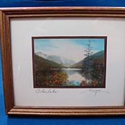 Vintage Charles H Sawyer Miniature Framed Photograph- Echo Lake