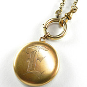 Vintage Gold-Filled Locket with Watch Fob Chain