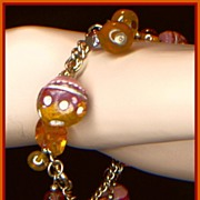 Shades of Brown and Gold Color Bead Charm Bracelet
