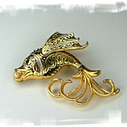 Gold-tone Damascene Fish Pin with Black / Silver Enamel Detail. Signed Spain