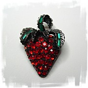 Sparkling Red Rhinestone Strawberry Brooch Signed Pell