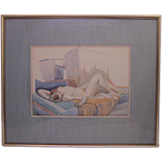 SOLD Vintage Art Deco Watercolor of Reclining Nude, Framed, Artist Unknown