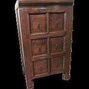 Vintage Chinese Elmwood Multi-Drawer Cabinet
