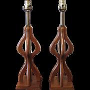 Pair of Danish Mid-Century Wooden Sculpture Lamps