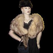 SALE PENDING Vintage Evans Silver Fox Fur Stole/Wrap/Cape