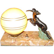 French Art Deco Gazelle Lamp with Marble Base, c. 1920's