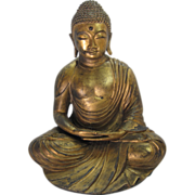 "Large 14"" Tall Gilt Bronze Seated Buddha"
